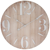 Wood Grain Convex Glass Wall Clock