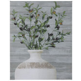 Potted Olive Stems Canvas Wall Decor