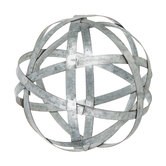 Galvanized Metal Band Decorative Sphere - Medium