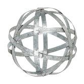 Galvanized Metal Band Decorative Sphere - Medium