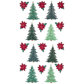 Christmas Tree & Poinsettia Puffy Stickers