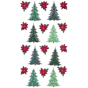 Christmas Tree & Poinsettia Puffy Stickers