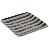 XOXO Square Striped Jewelry Dish