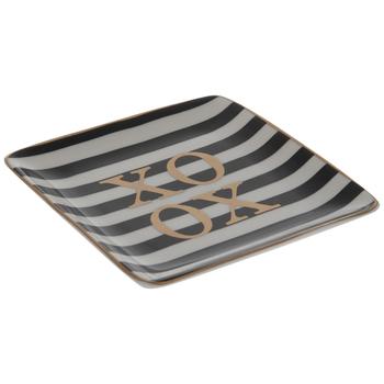 XOXO Square Striped Jewelry Dish