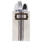 White & Gray Striped Burlap Utensil Pocket