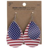 American Flag Teardrop Leather Earrings