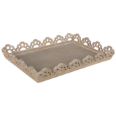 Whitewash Scalloped Wood Tray