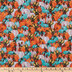 Turquoise & Orange Pumpkins Cotton Fabric