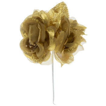 Gold Satin Rose Pick With Leaves