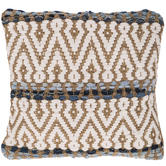 Jute & Denim Woven Pillow Cover
