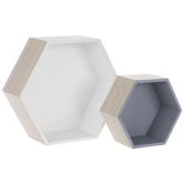 Gray & White Hexagon Wood Wall Shelf Set