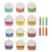 Birthday Cupcake & Candles Cutouts