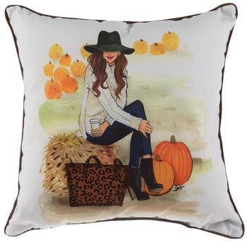Girl At Pumpkin Patch & Leopard Print Pillow