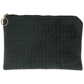 Dark Green Quilted Zipper Pouch