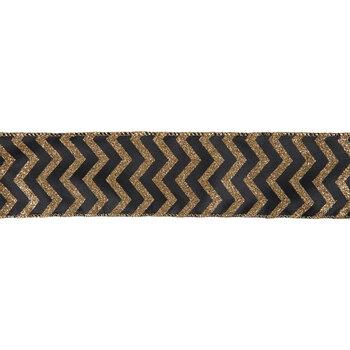 "Black & Gold Glitter Chevron Wired Edge Ribbon - 2 1/2"""