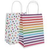 Rainbow Striped & Polka Dot Craft Gift Bags