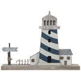 Wood Lighthouse & Beach Sign