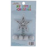 Mini Silver Glitter Star Tree Topper & Ball Ornaments