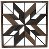 Brown & Black Geometric Star Wood Wall Decor