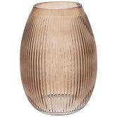 Brown Ribbed Glass Vase