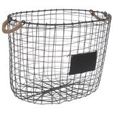 Gray Metal Basket With Chalkboard - Medium