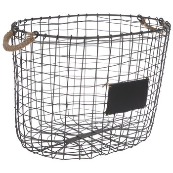 Gray Metal Basket With Chalkboard