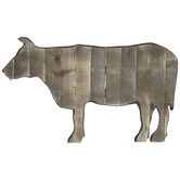 Distressed Cow Wood Wall Decor