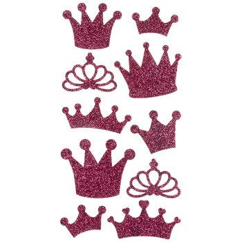 Pink Glitter Crown Stickers