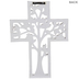 White Distressed Tree Cut-Out Wall Cross