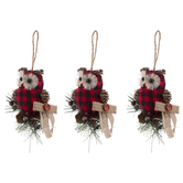 Red & Black Buffalo Check Owl Ornaments