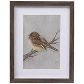 Brown Winter Bird Framed Wall Decor
