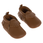 Brown Faux Leather Fringe Moccasin Shoes