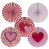 Hearts & Striped Paper Fans