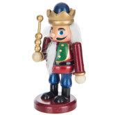 Mini Wood Nutcracker King With Scepter