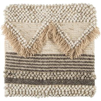 Cream Hand Woven Fringe Pillow Cover