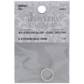 Sterling Silver Cubic Zirconia Circle Charm