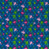 Blue Flamingo Tropics Cotton Calico Fabric