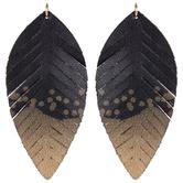 Black & Metallic Leather Leaf Pendants