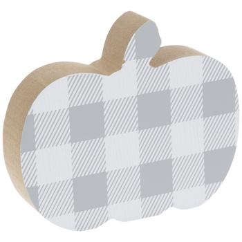 Gray & White Buffalo Check Pumpkin Wood Decor