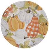 Orange & White Pumpkins Paper Plates - Small