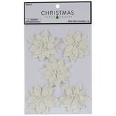 White Glitter Poinsettia Embellishments