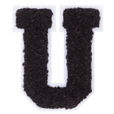 Black & White Letter Iron-On Applique - U