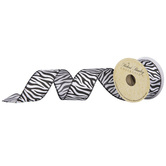 Zebra Print Taffeta Wired Edge Ribbon - 1 1/2""