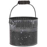 White Speckled Galvanized Metal Bucket - Small