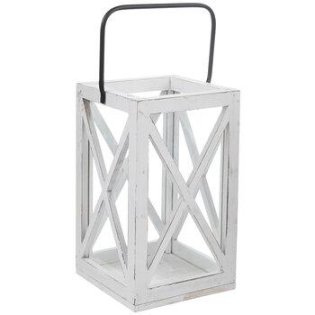 Distressed White Cross Frame Wood Lantern
