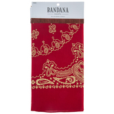 Red & Metallic Gold Paisley Bandana