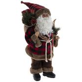 Red & Black Buffalo Check Santa With Skiis