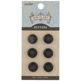 Black Ornate Star Round Buttons - 13mm