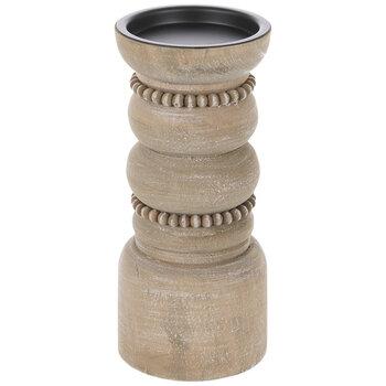 Beaded Pedestal Wood Candle Holder