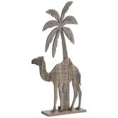 Brown Camel & Palm Tree Nativity Wood Decor